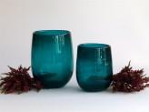 Glass vase  Bubble- blue